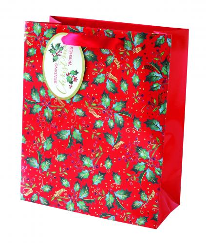 festive foliage holly medium bag cancer research uk christmas bag