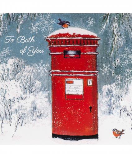 Postbox With Robins Single Christmas Card Cancer