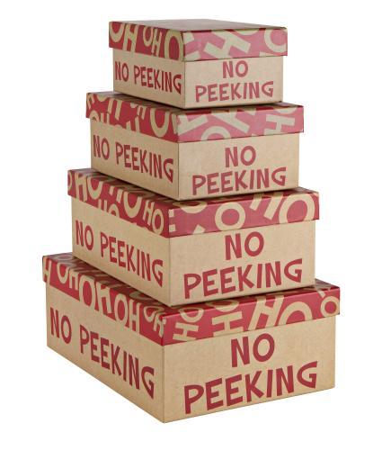 Nest of 4 'No Peeking' Gift Boxes