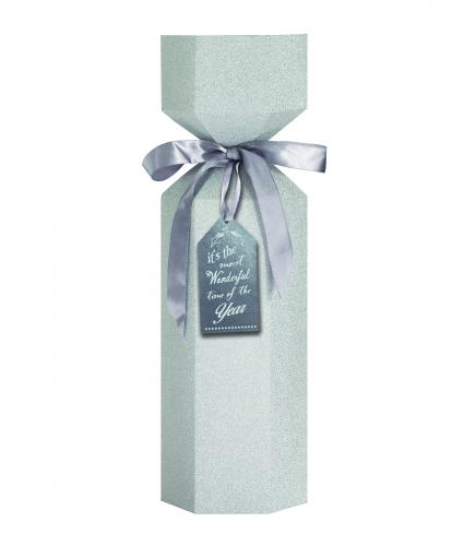 Luxury Bottle Box Silver Glitter Cancer Research uk Christmas Box
