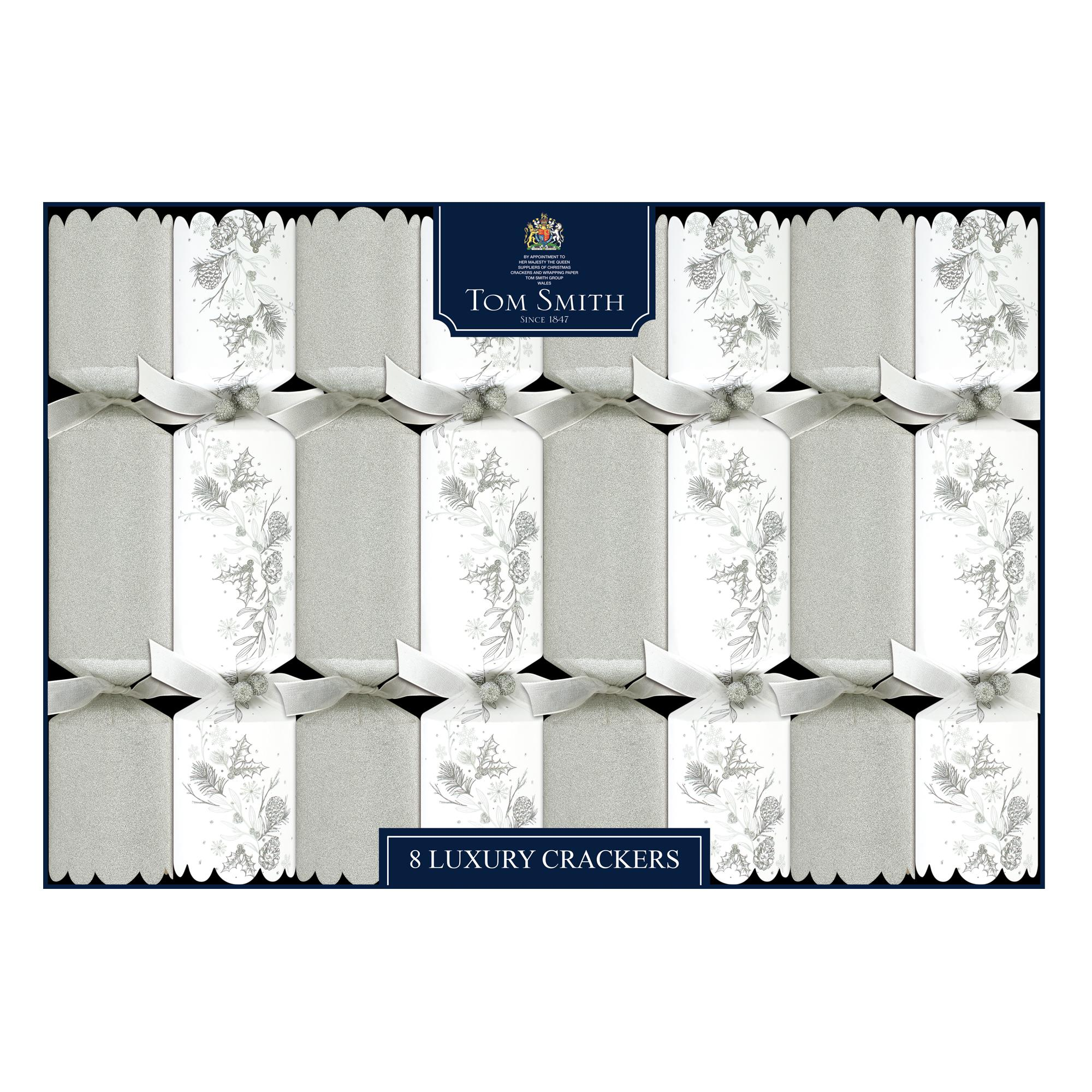 Tom Smith 8 Silver & White Luxury Christmas Crackers | Cancer ...