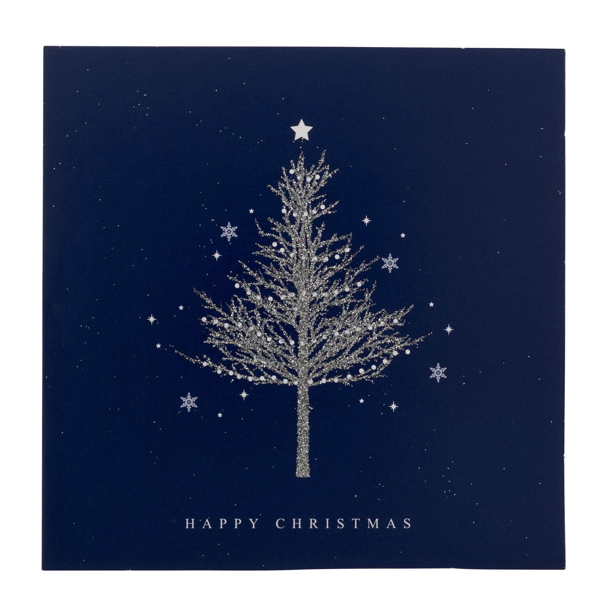 Blue Sparkly Tree Christmas Cards - Pack of 20 | Cancer Research UK ...
