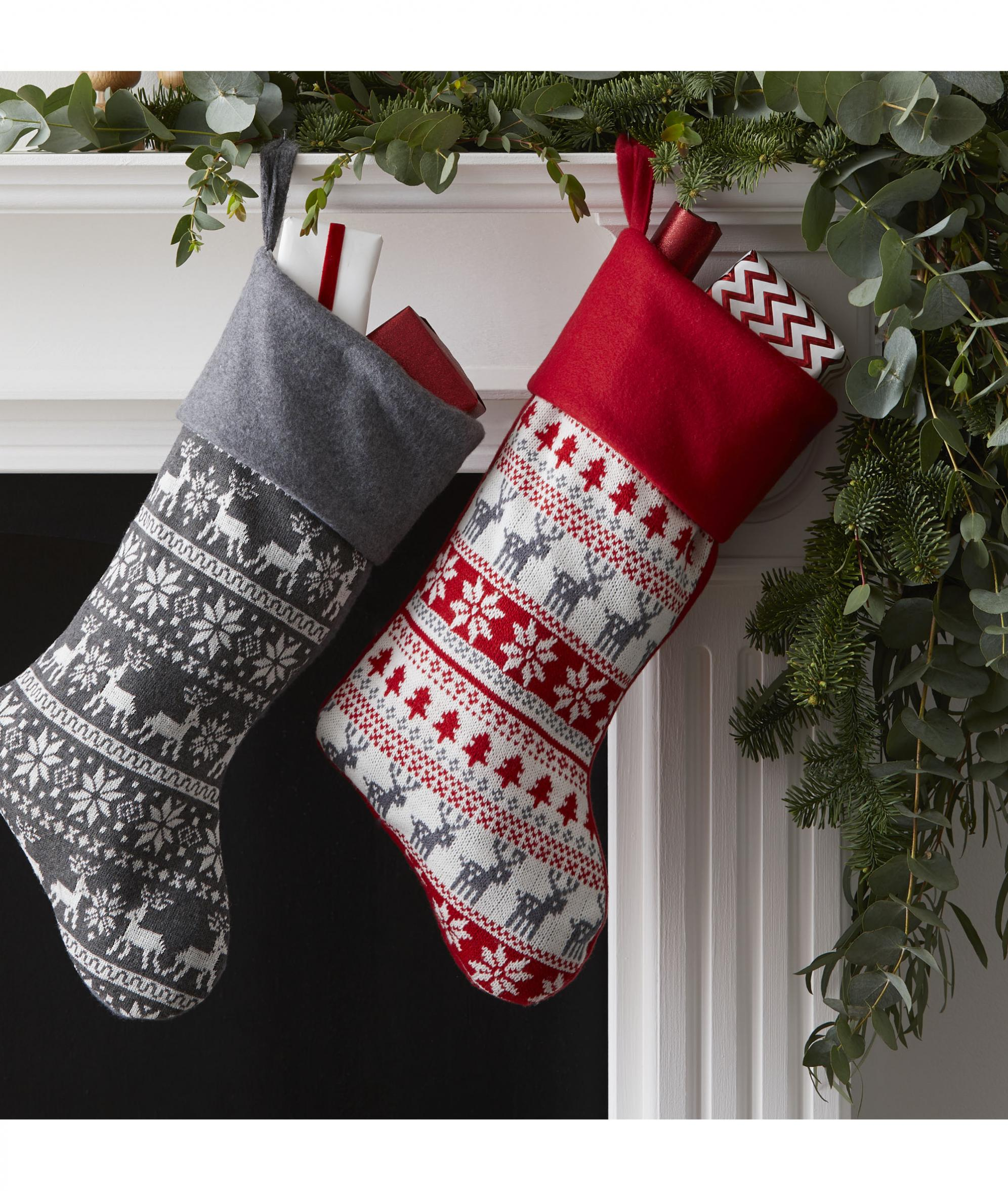 Knitted Grey Scandi Christmas Stocking Cancer Research