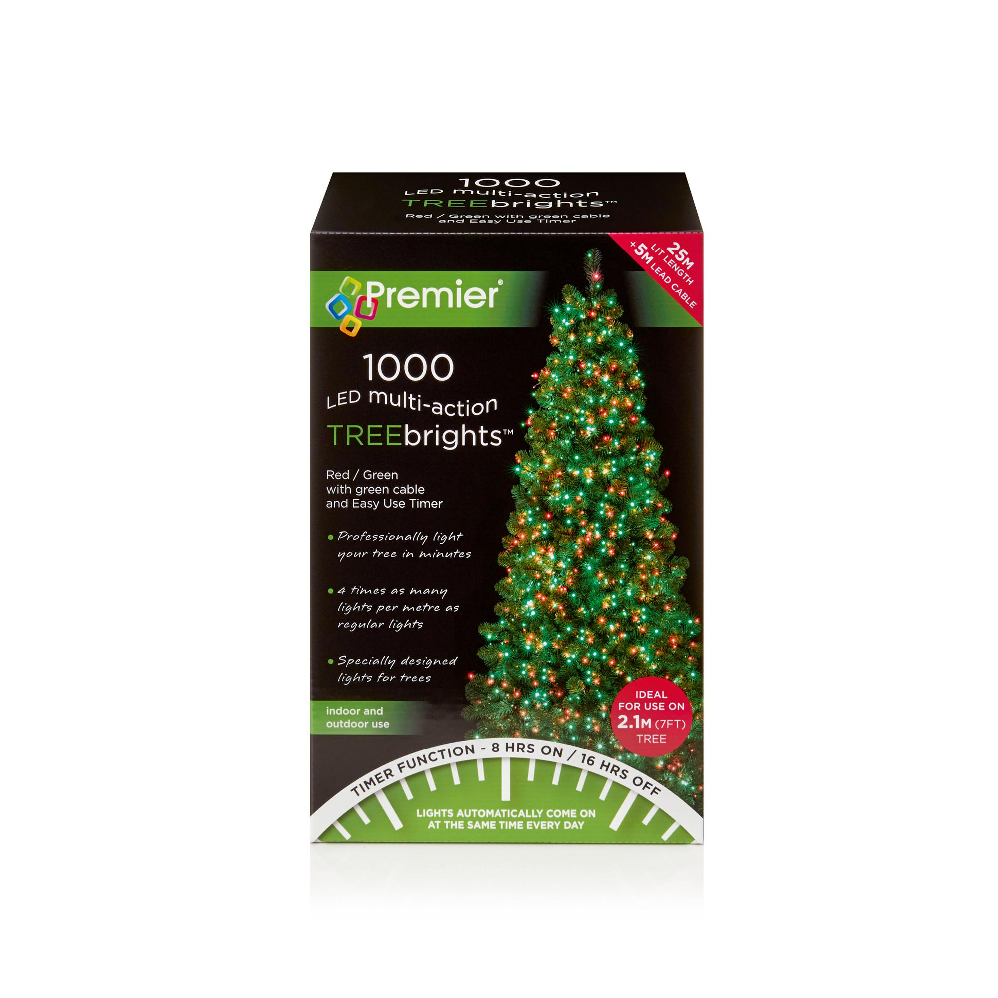 1000 red green led christmas tree lights