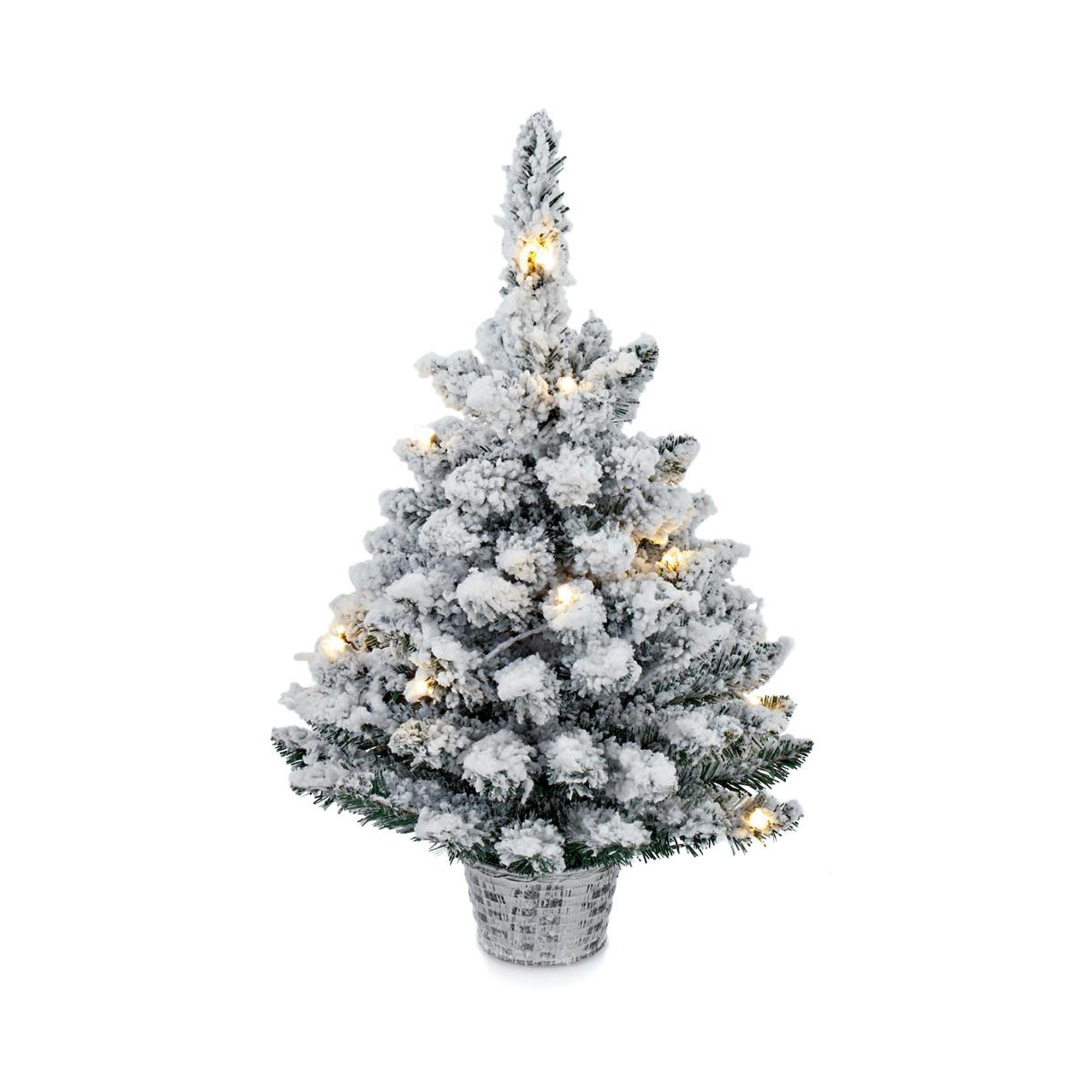 Pre Dressed Christmas Trees: 60cm LED Frosty Flocked Christmas Tree