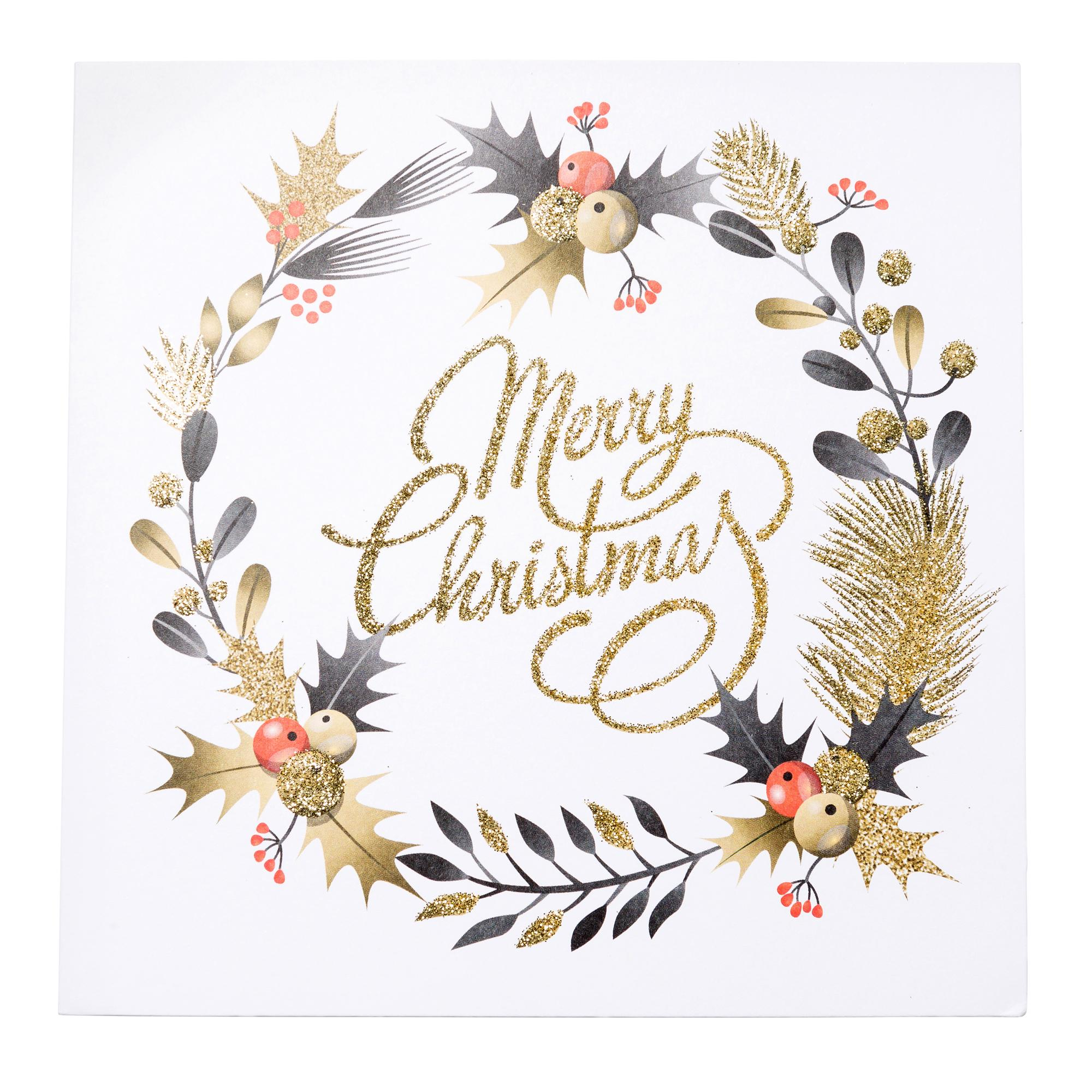 Glitter Christmas Cards.Gold Glitter Festive Wreath Christmas Cards Pack Of 20
