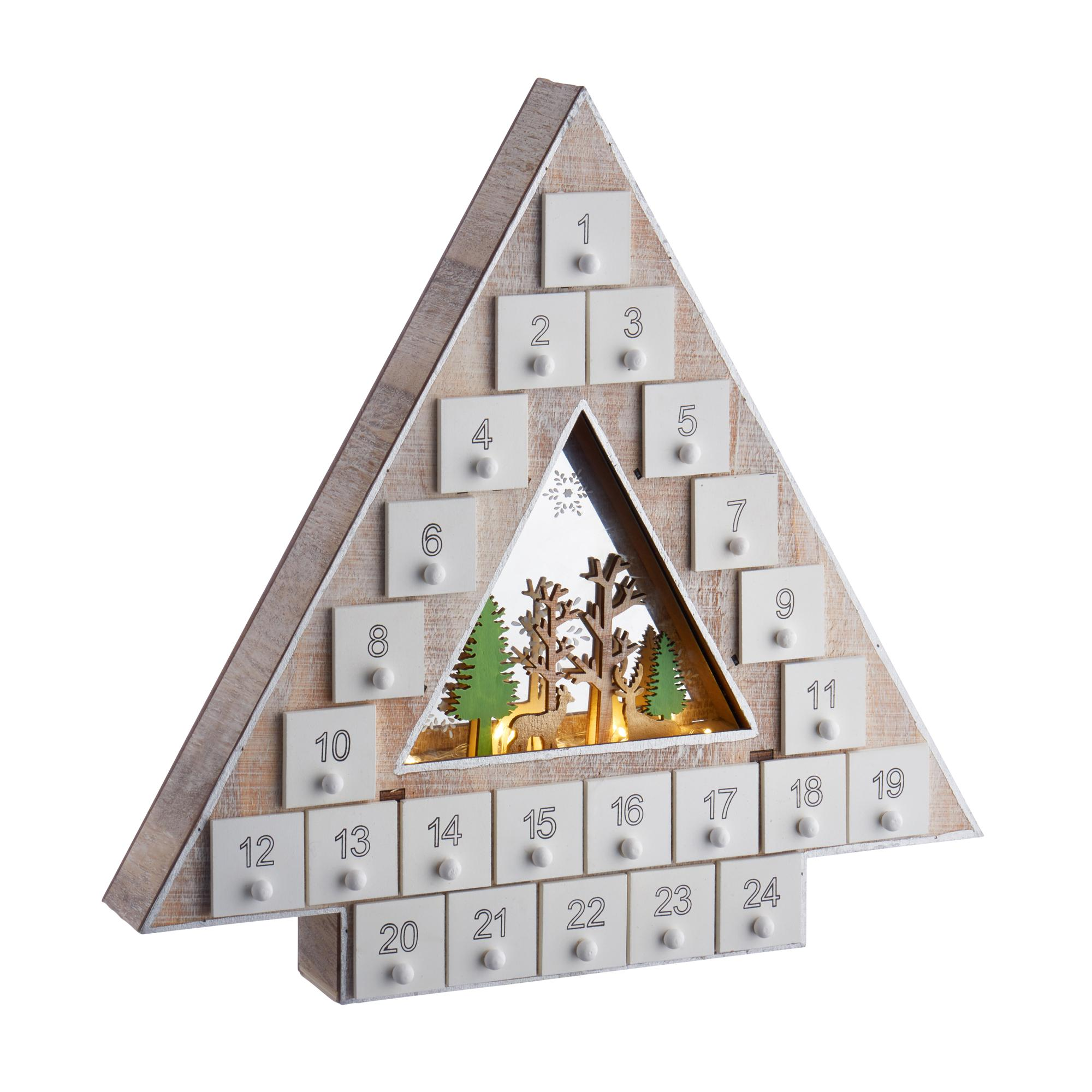Led Wooden Christmas Tree Advent Calendar Cancer Research Uk Online Shop