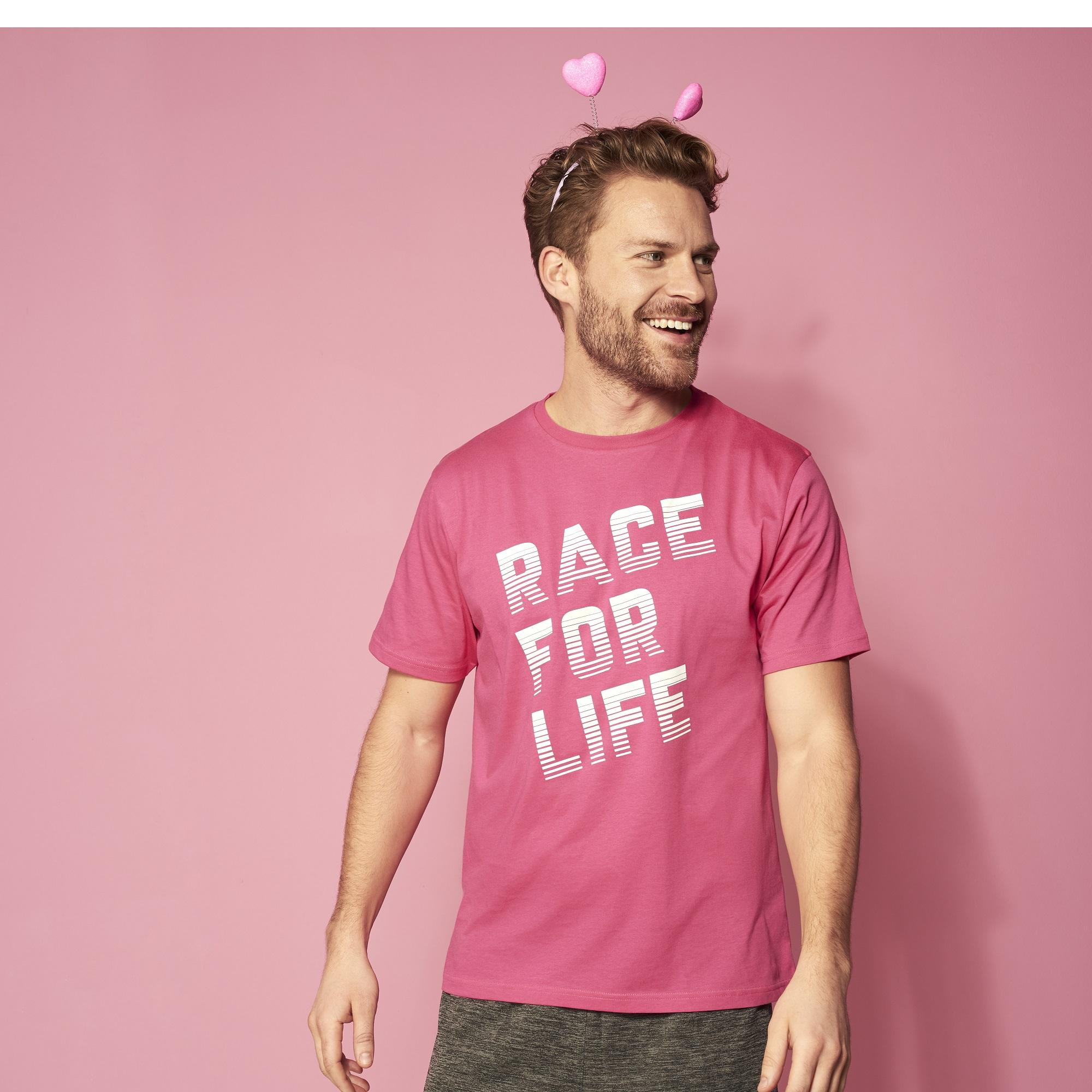 Race for Life 2019 Mens Racer Design T-shirt | Cancer Research UK