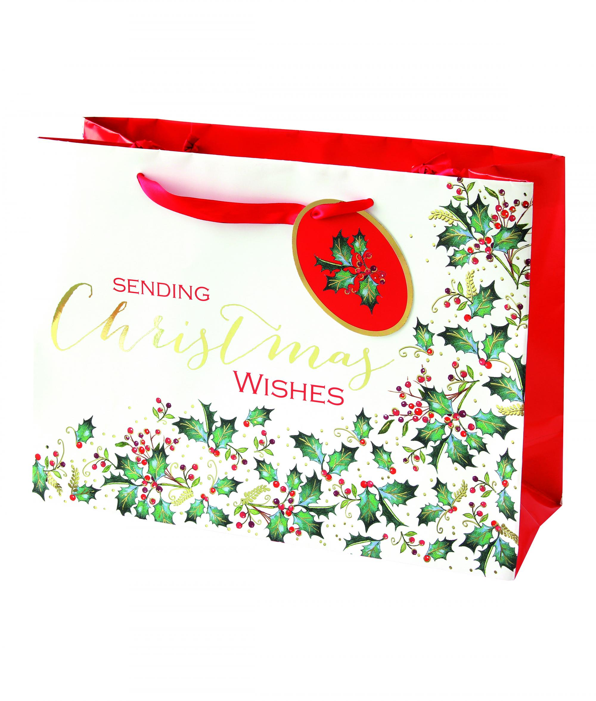 festive christmas foliage holly large gift bag cancer research