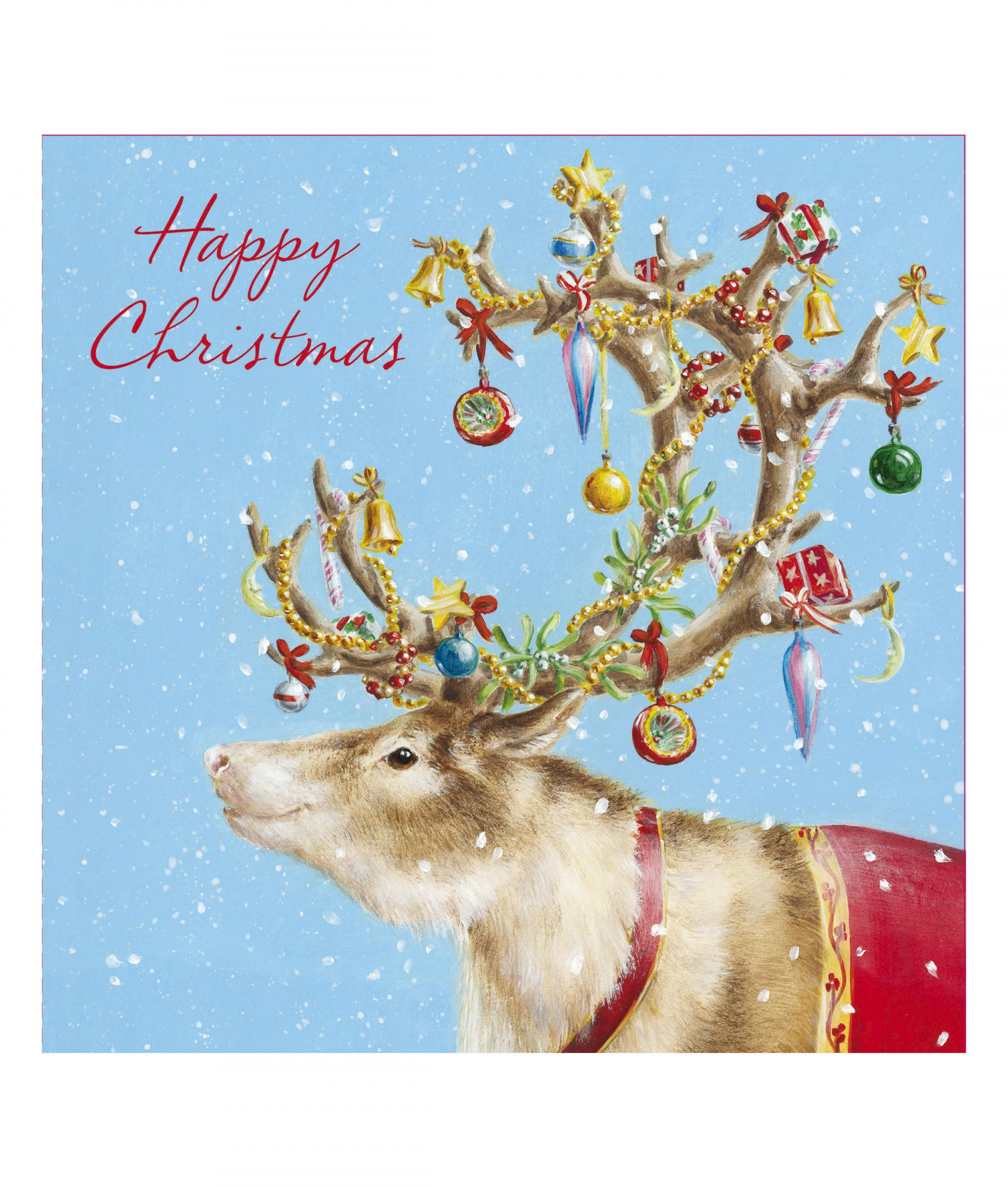 Festive Reindeer Christmas Card - Pack of 10 | Cancer Research UK ...