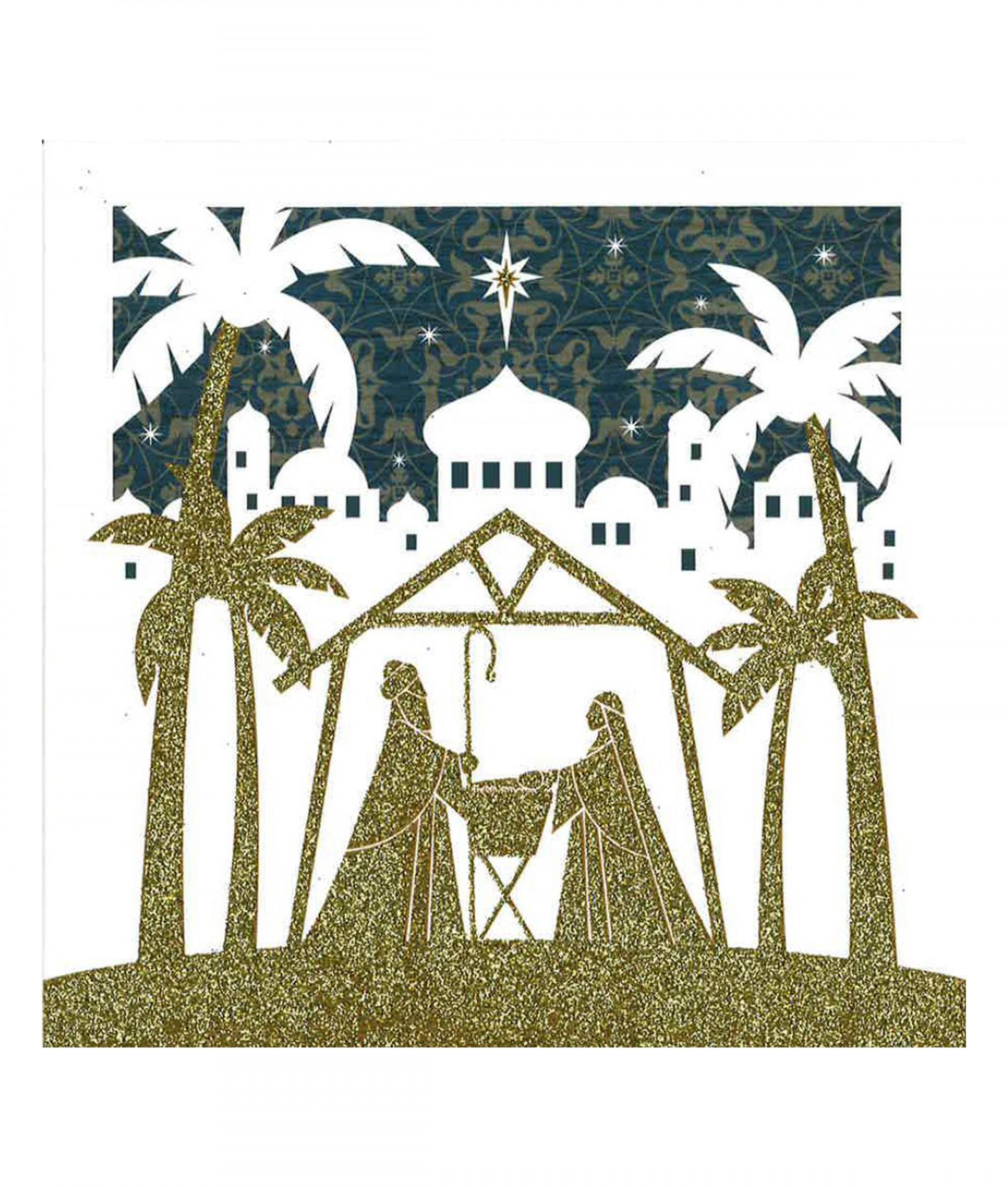 Golden Nativity Christmas Card - Pack of 10 | Cancer Research UK ...