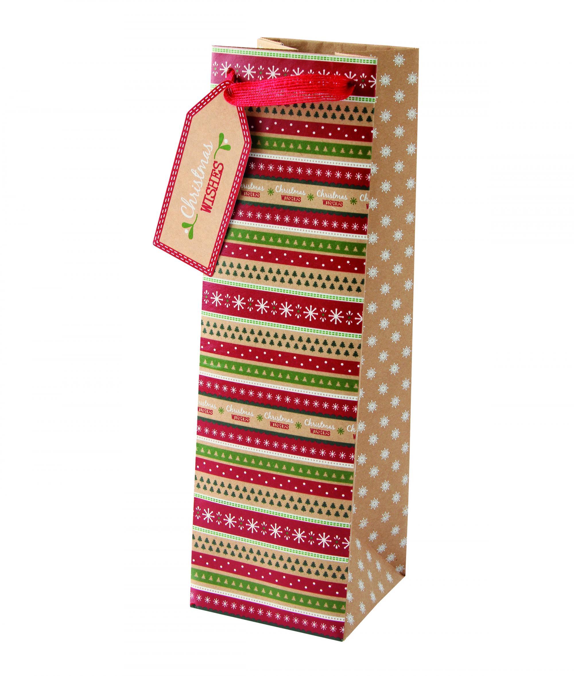 Kraft Bottle Christmas Gift Bag | Cancer Research UK Online Shop
