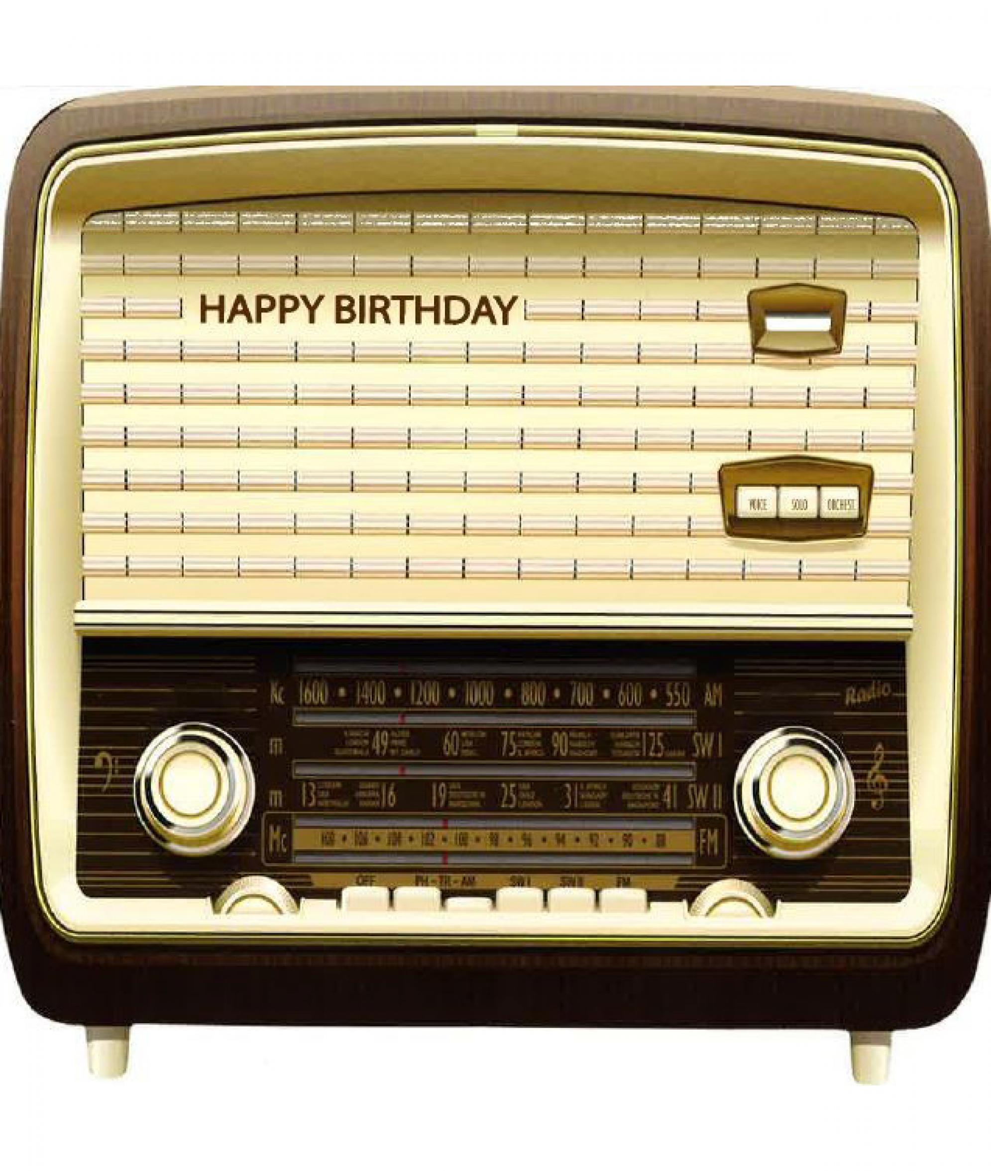 Old Fashion Radio Happy Birthday Card