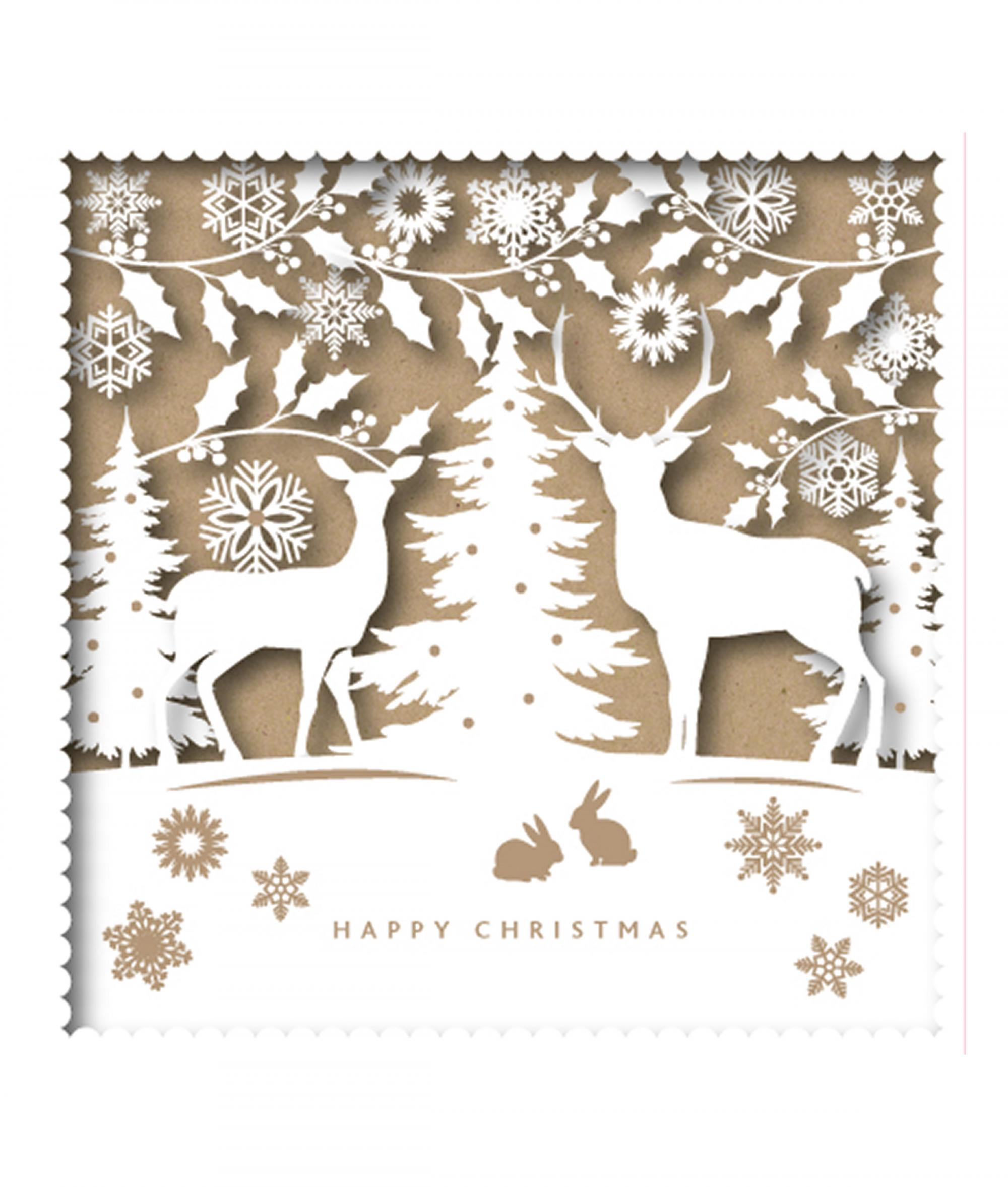 Reindeer Christmas Cards.Silhouette Reindeer Christmas Card Pack Of 10 Cancer