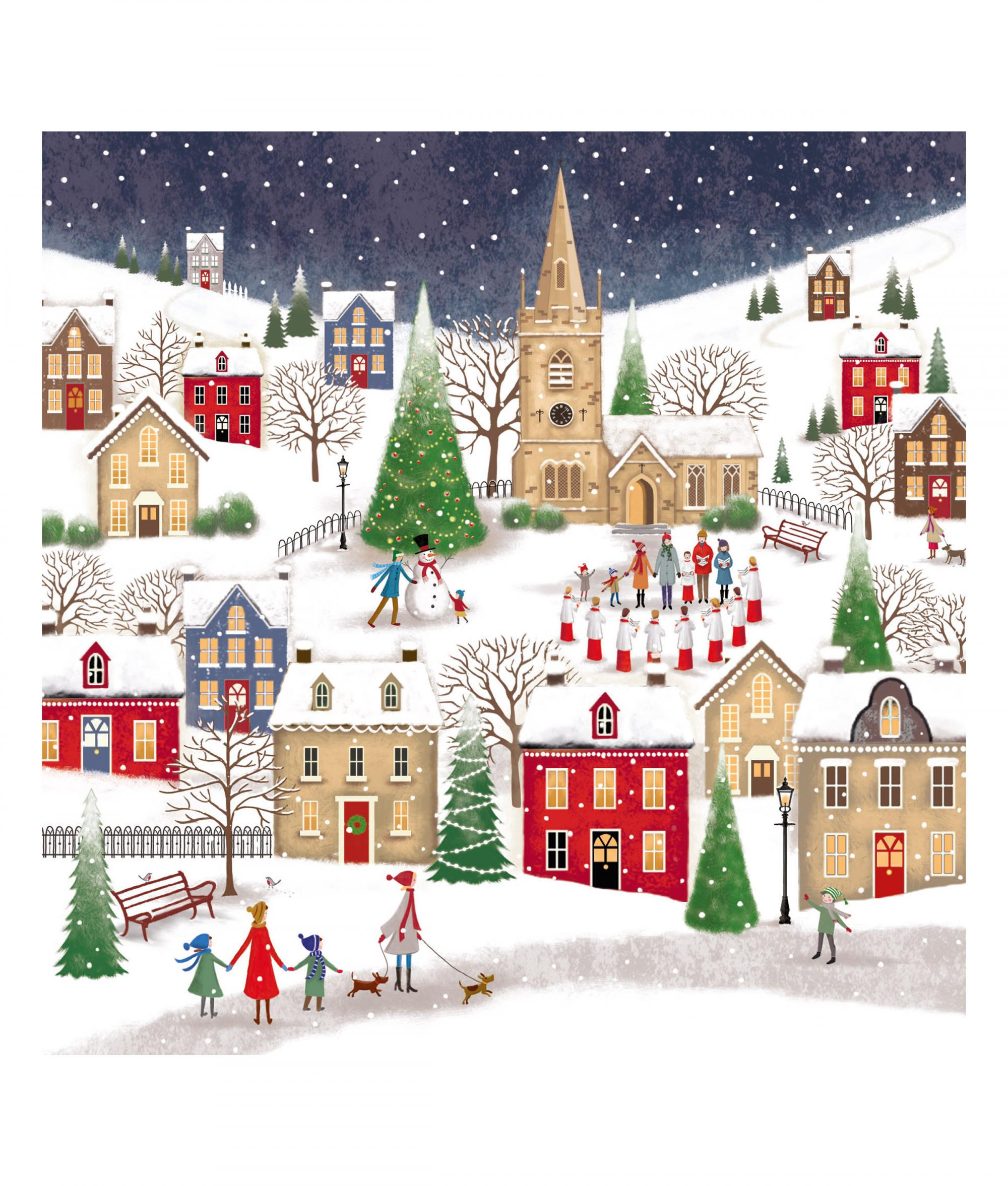 Village at Christmas Card - Pack of 10 | Cancer Research UK Online ...