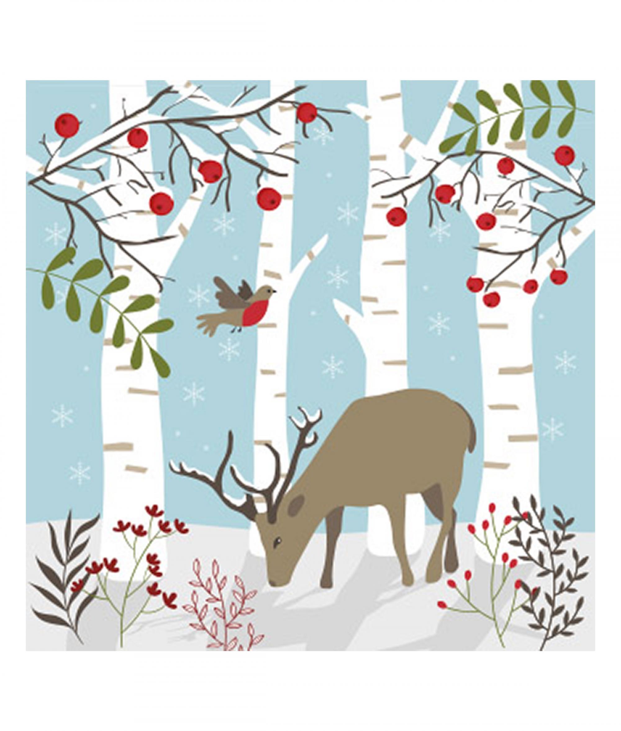 Reindeer Christmas Cards.Woodland Reindeer Christmas Card Pack Of 10 Cancer