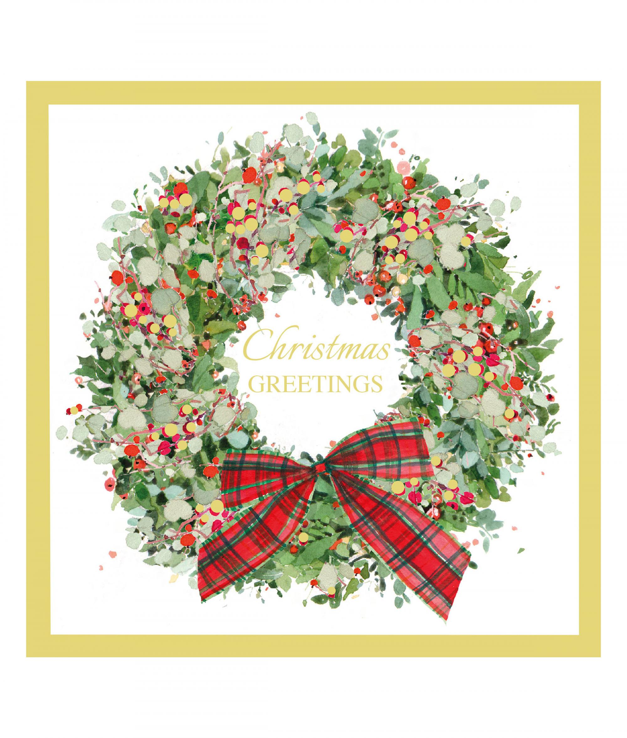 Wreath at Christmas Card - Pack of 10 | Cancer Research UK Online Shop