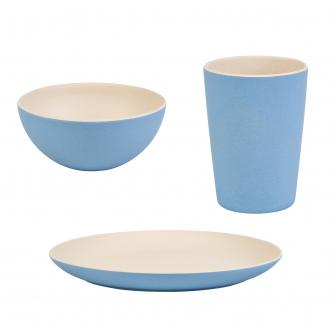 12 Piece Blue 2 Tone Bamboo Dinner Set