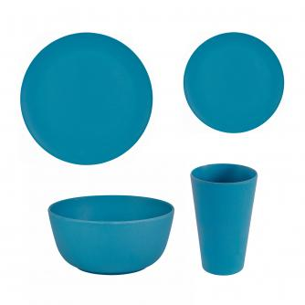 16 Piece Blue Bamboo Dinner Set