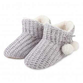 Totes Chenille Ladies Knitted Booties - Grey