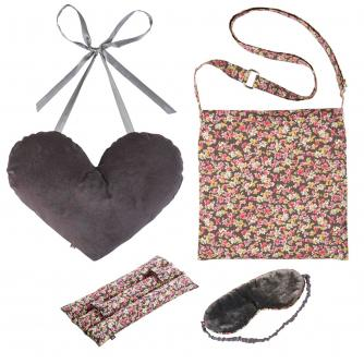 4 Piece Mastectomy Gift Collection in Grey Velvet & Flower Print