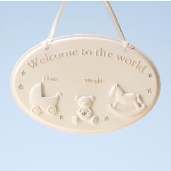 Welcome To The World Plaque, Baby Gift, Cancer Research UK