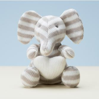 Knitted Elephant, Baby Gift, Cancer Research UK