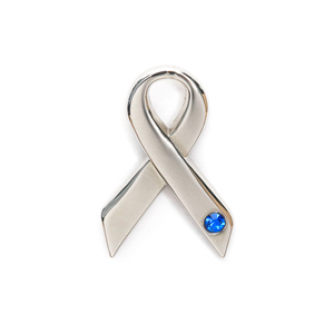 Blue Gem Ribbon Pin Badge, Cancer Research UK