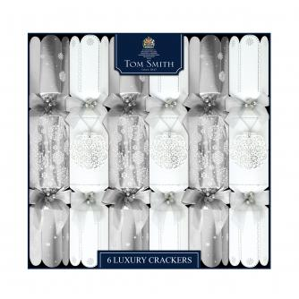 Tom Smith 6 Silver & White Luxury Christmas Crackers