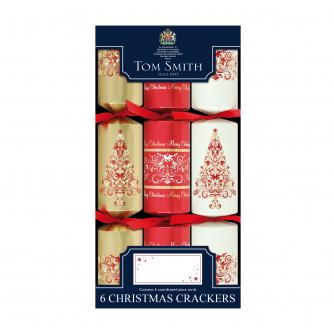Tom Smith 6 Red & Gold Dinner Cube Christmas Crackers