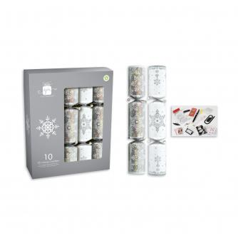 Silver & White 10 Christmas Crackers