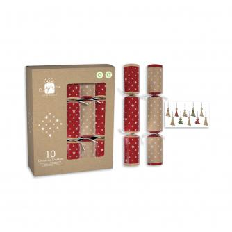 Red & White Kraft 10 Recyclable Christmas Crackers