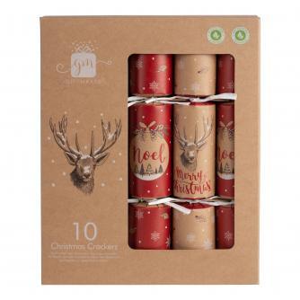 10 Kraft & Red Plastic-Free Christmas Crackers