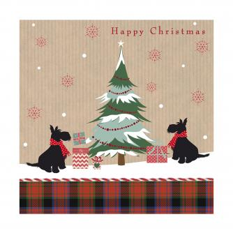 scotties with tartan cancer research uk christmas card