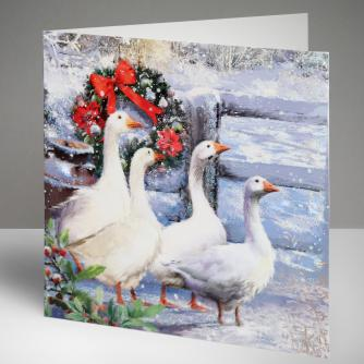 Winter Geese Christmas Cards, Pack of 10