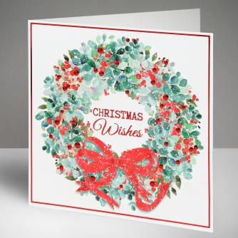 Festive Wreath Christmas Cards, Pack of 10