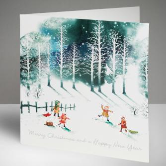 Playing in the Snow Christmas Cards, Pack of 10