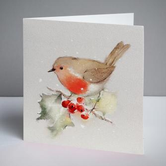 Robin on Holly Christmas Cards, Pack of 10