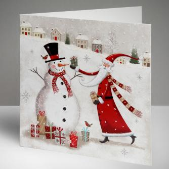 Santa and Frosty Friend Christmas Cards, Pack of 10
