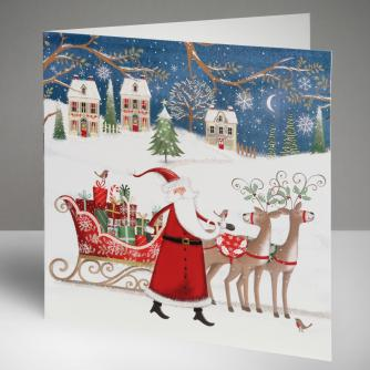 Santa's On His Way Christmas Cards, Pack of 10