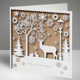 Stag Silhouette Christmas Cards, Pack of 10