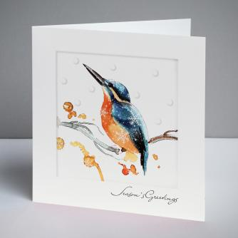 Illustrative Kingfisher Christmas Cards, Pack of 10