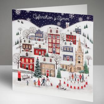 Winter Village - Welsh Christmas Cards, Pack of 10