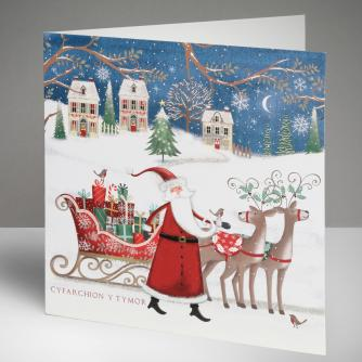 Santa's On His Way - Welsh Christmas Cards, Pack of 10
