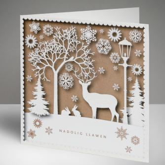 Stag Silhouette - Welsh Christmas Cards, Pack of 10