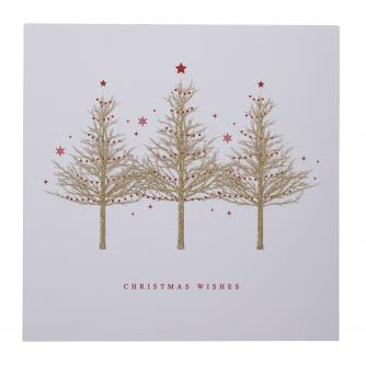 Gold Sparkle Trees Christmas Cards - Pack of 20