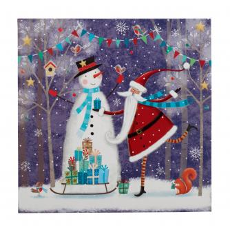 Santa With Snowman Christmas Cards - Pack of 20