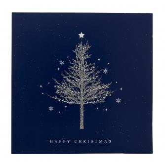 Blue Sparkly Tree Christmas Cards - Pack of 20