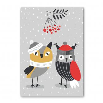 Holly Jolly Mini Birds & Berries Christmas Cards - Pack of 5