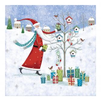 Santa Dressing Tree Christmas Cards - Pack of 10